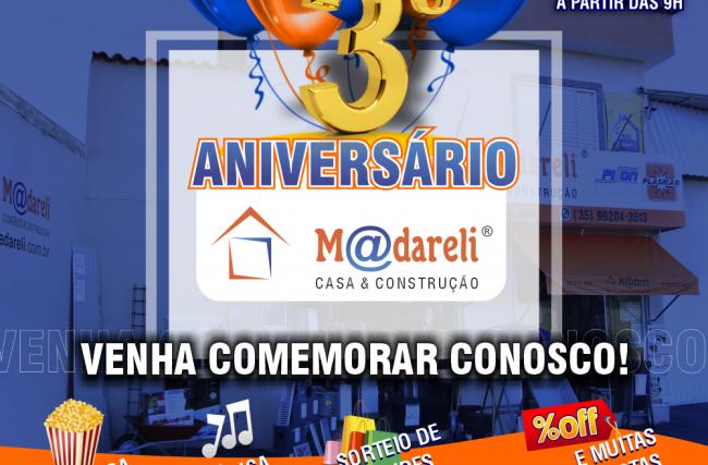 Madareli comemora seu 3º aniversário de loja física